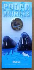 2013 POLAR ANIMALS AUSTRALIAN $1 UNC COLOUR PRINTED COINS - WALRUS