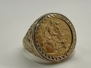 22ct Gold George 1915 Full Sovereign in 9ct Gold Sort After Ring Mount