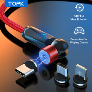 Topk 540° Rotation Magnetic USb Phone Cable Type C Micro Usb for iPhone Android