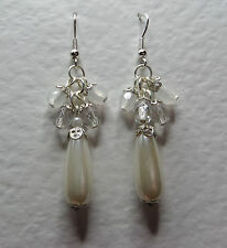 LONG IVORY WHITE PEARL CLEAR acrylic CRYSTAL SILVER PLATED DROP EARRINGS hook PC