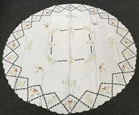 72'' Round Embroidered Floral Cut work Green Embroidery Fabric Tablecloth