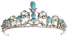 8.50ct ROSE CUT DIAMOND TURQUOISE ANTIQUE VICTORIAN LOOK 925 SILVER HAIR TIARA