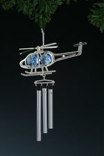 Helicopter FIGURE - ORNAMENT WIND CHIME SILVER PLATED WITH AUSTRIAN CRYSTALS