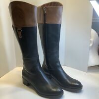 Franco Sarto Clarity Riding Boots Two Tone Black Leather Women's Size 8M  Exc