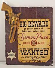 Simon Pure Beer Ale WANTED BIG REWARD Sign Buffalo NY