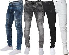 New ENZO Mens Designer Stretch Super Skinny Fit Jeans Ripped Biker Denim Pants