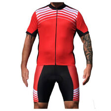 Mens Cycle Jersey & Shorts Set Striped Stripey Red White Black Cycling Clothing