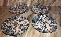 """Royal Norfolk 10 1/2"""" Dinner Plates Set Of 4 Blue/White Flower Print-NEW-SHIP24H"""