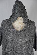 One A Womens Medium Gray/Black Hooded 3/4 Sleeve Loose Fit Sweater Warm V-Neck