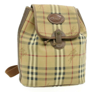 BURBERRYS Nova Check Backpack Beige Canvas Auth th684