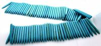 1 9/10 x 1/5 Inch Tooth Bullet Magnesite Blue Turquoise Gem Bead 15 Inch Strand