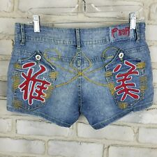 FRESH Womens Short Jean Denim Embroidered Chinese Character Letter Size 7