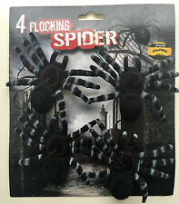 4 x Halloween Spiders with eleastic hanger Tarantula Spider Favours Decorations