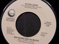 "ELTON JOHN 45 RPM ""Sad Songs"" & ""A Simple Plan"" VG condition"