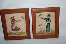 VINTAGE PAIR FOLK ART WATERCOLOR PICTURES SIGNED JEAN HENRY BOY BUTTERFLY GIRL