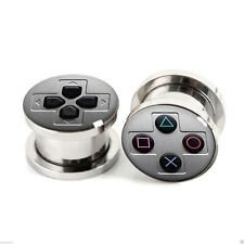 Ear Plug Tunnel Games Controller Logo Screw Fit Stretcher Surgical Steel 4-25mm