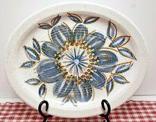 "J&G Meakin 12"" Stoneware Platter  Delia, Blue Leaves. brown detail, MINT"