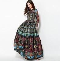 Floral Slim Fit Vintage Long Sleeve Women Club Ball Gown Maxi Tutu Dress Leisure