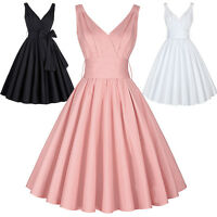 Retro 50s 70s Vintage Style Halter Swing Evening Cocktail Party Prom Tea Dress