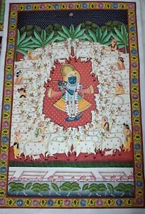 Pichwai Painting of Lord Krishna with cows hand painted on cloth decorative