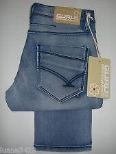 Guru Jeans Pg07 Stretch Slim Fit canette Pantalone Elastico cotone Uomo Donna