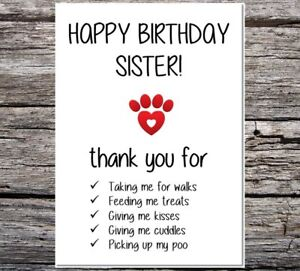 funny card from the dog happy birthday sister thanks for all the things you do