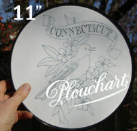CONNECTICUT state bird/flower framed round coloring poster
