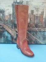 WOMENS VTG TALL BRN LEATHER BRAIDED COWBOY WESTERN CAMPUS BOOTS 7.5 B