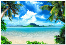 "Tropical Sea Beach Scenery Silk Poster 24x36"" Coconut Tree Modern Home Decor"