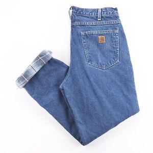 Vintage CARHARTT Blanket Lined Blue Denim Regular Straight Jeans Mens W34 L32