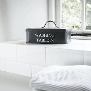 Washing Tablet Box with Lidin colour Carbon by Garden Trading H14 x W25 x D19cm