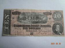 Confederate States Of America $10 Bill, 1864