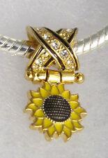 Sunflower Sliding Bead, Bracelet Charm, Yellow+Black Enamel+Swarowski Crystals