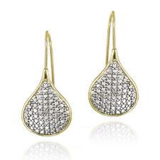 Gold over 925 Silver Diamond Accent Teardrop Drop Earrings