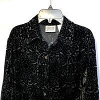 Chico's Velvet Top Size 0 Size Small Black Silk Blend Long Sleeves