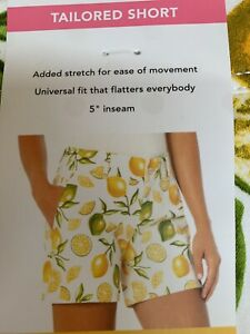 Isaac Mizrahi New York Lemon Lime Shorts Tailored CHOOSE SIZE