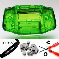 Clear Green Shell & écran Verre Nintendo Game Boy Advance GBA Housing/Case Kit