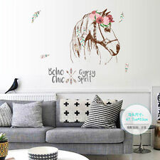 US STOCK Horse Head Flower Removable DIY Wall Sticker Quote Mural Art Decal pvc