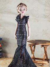 "handmade doll clothes for ellowyne wilde 16"" black dress gown"