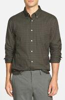 John Varvatos Luxe Slim Fit Long Sleeve Plaid Sport Shirt Seaweed NWT XL