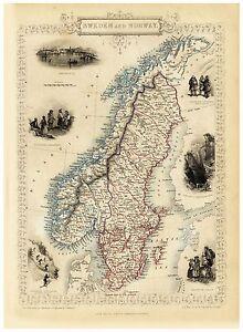 Old Vintage Map of Sweden Norway richly illustrated Tallis 1851