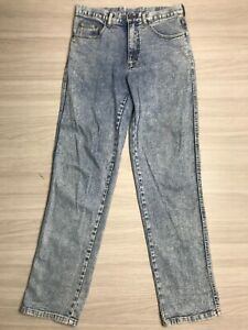 Riders Men's Acid Wash Jeans Straight Leg Size 82 Small Pockets 100% Cotton