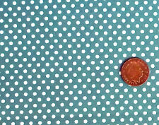 LIGHT TEAL GREEN WITH WHITE 3mm SPOTS - 100% COTTON FABRIC F.Q.'S