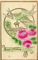 """Antique EMBOSSED 1916 """"BEST WISHES"""" Airbrush PINK Flowers GREEN Leaves BIRDS PC"""
