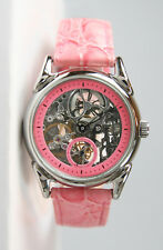 Gorgeous Women's Stainless Steel Mechanical Skeleton Watch- Pink. Mint.