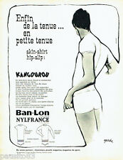 PUBLICITE ADVERTISING 096  1962  Ban-Lon Nylfrance sous vetements Kangourou Goud