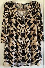 Coco Bianco Animal Print Tunic Top Metal Keyhole Neck Tiger 3/4 Sleeve Blouse L