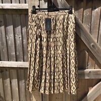 Zara Woman Pleated Snakeskin Print Midi Skirt with Split Size M UK 10 - 12 BNWT