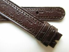 watch band ~ 12 mm Peccary print dark brown leather 1960's