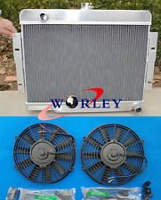 FOR 72-86 Jeep CJ CJ5 CJ7 V8 Chevy Engine Conversion Aluminum Radiator + 2* FANS